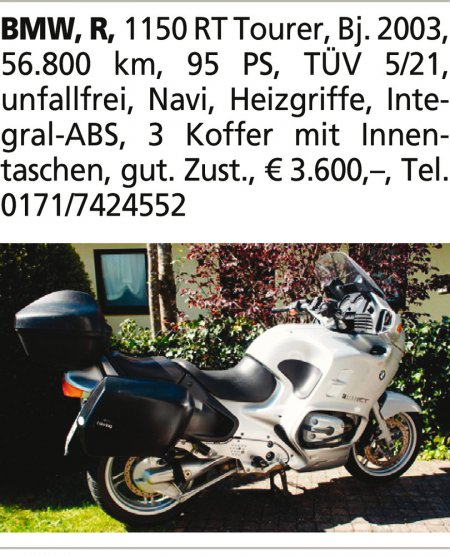 BMW, R, 1150 RT Tourer, Bj. 2
